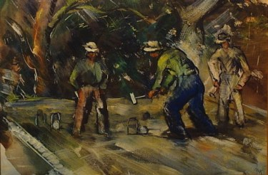 Charles Keck Croquet 18x24 Watercolor