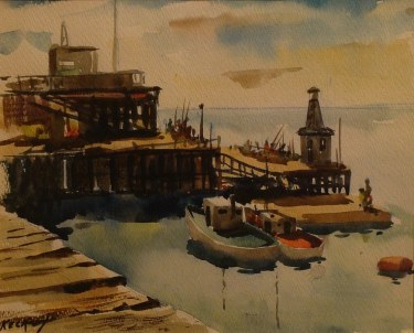 Charles Keck Old Redondo Beach Pier 9x12 Watercolor