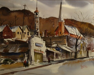 Watercolor by Harold Gretzner of a couple walking up a street in Austin with brown tones