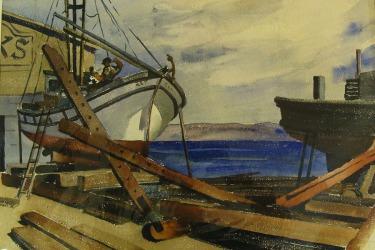 Joesph Knowles Boat Repair 20x24 Watercolor