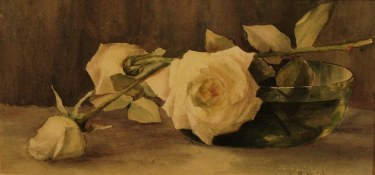 Lillie M Nichols Bowl with Roses 7x14 Watercolor