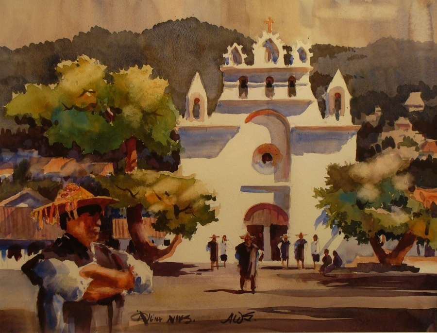 Don O'Neill Mexican Church 20x24 Watercolor