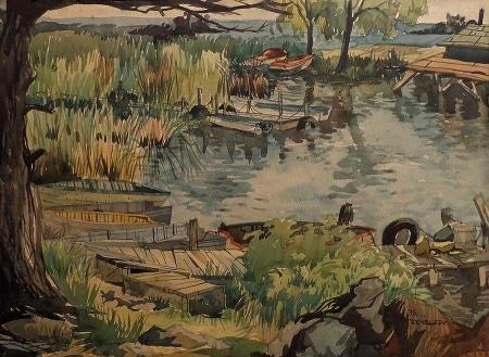 B. Kensler Marshland with Boats 22x30 Watercolor