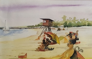 Jack Lauritz Beach View 11x17 watercolor