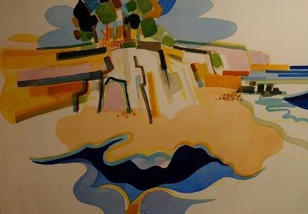 Jae Carmichael Schooner's Gulch 24x34 Watercolor