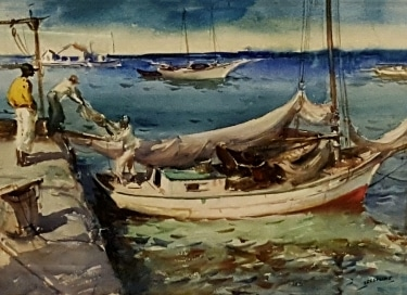 James Milton Sessions Caribbean Boat Dock 15x22 watercolor