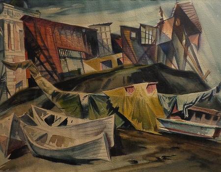 John De Cuir Abandoned Boats 19x24 Watercolor