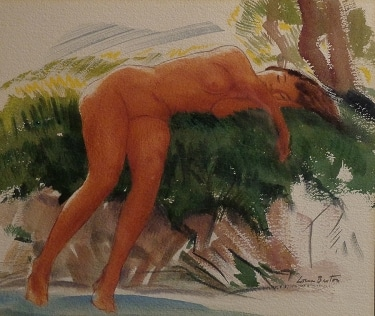 Loren Barton Reclining Nude 11.5x14 Watercolor