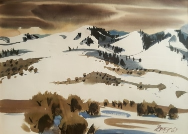 Milford Zornes Winter in Wyoming 1967 22x30 watercolor