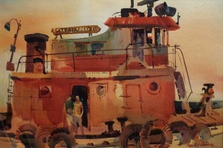Robert E. Wood Along the Docks 14x20 Watercolor
