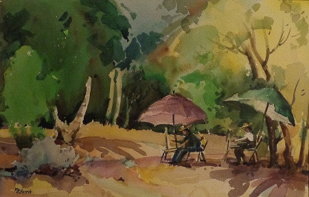 Robert M. Harris A Lovely Day to Paint Watercolor 12x16