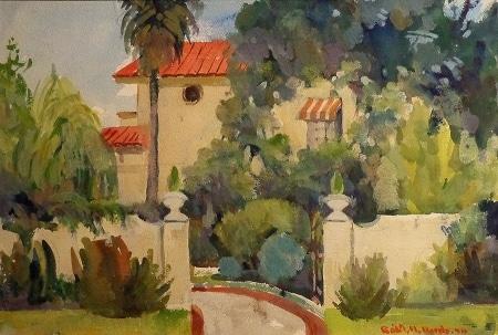 Robert M. Harris Spanish Hideaway 15x22 Watercolor