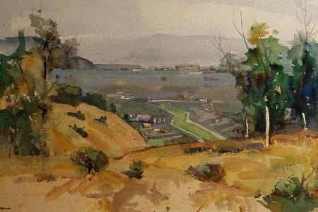 Robert M. Harris The Overlook 14x21 Watercolor