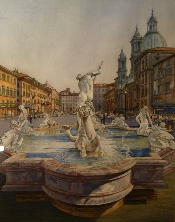 BH Ameche Italian Fountain 30x22 Watercolor