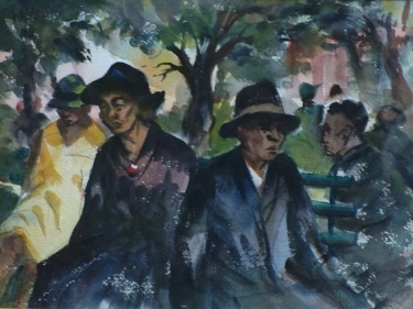 Charles Keck In the Park 9x12 Watercolor