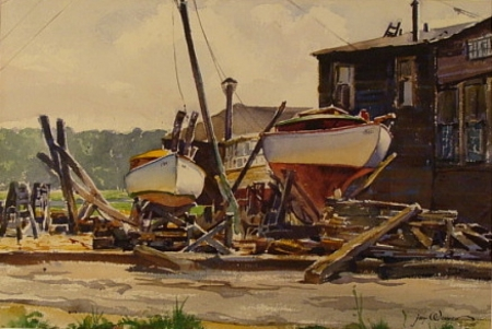 Halesite, Long Island 1939 by Jay Weaver 15x21 Watercolor
