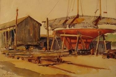 Port Washington, Long Island by Jay Weaver 15x21 Watercolor
