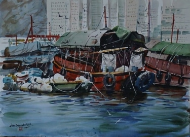 Hong Kong Harbor by John Bohnenberger 22x30 Watercolor