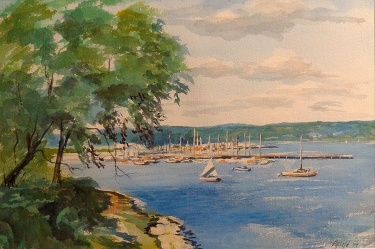 Robert Fifield Harbor Boats 15x21 Watercolor