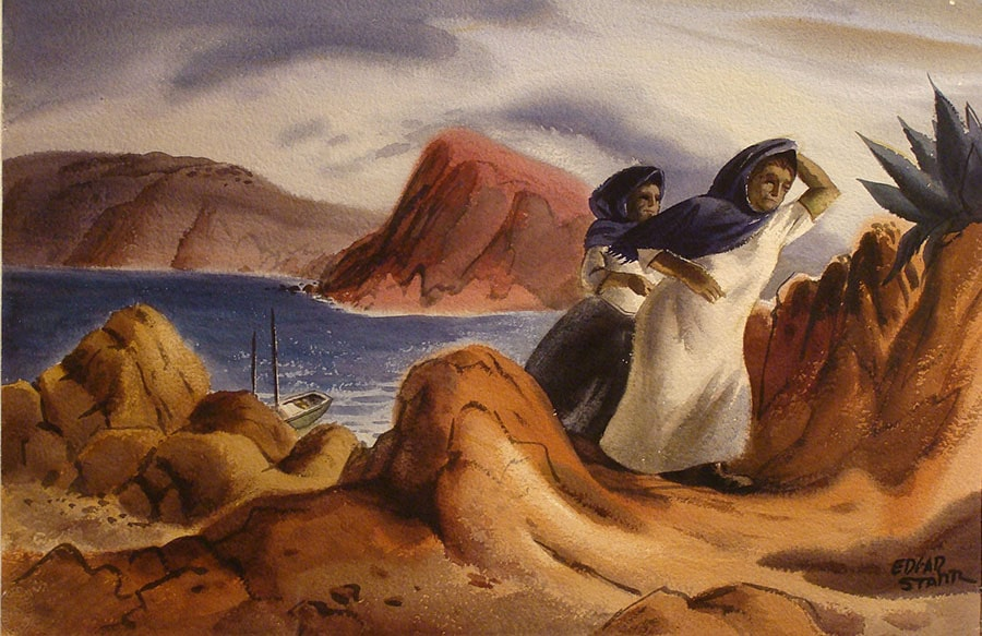 watercolor by Edgar Starr of a woman and companion walking along cliffs and sea by California and Mexico coastline