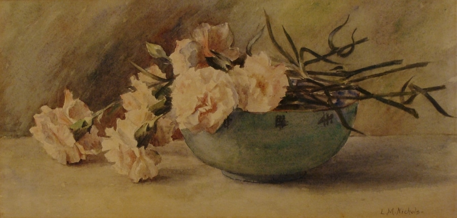 Lillie M Nichols Japanese Bowl with Roses 9x15 Watercolor