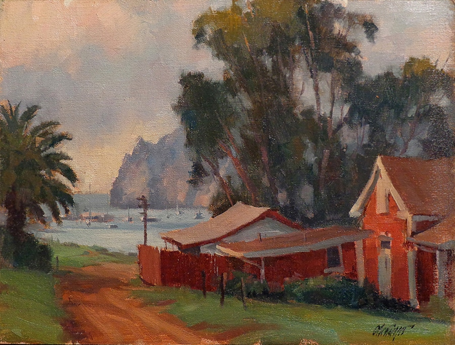Michael Obermeyer Cat Harbor Catalina 9x12 Oil on Canvas