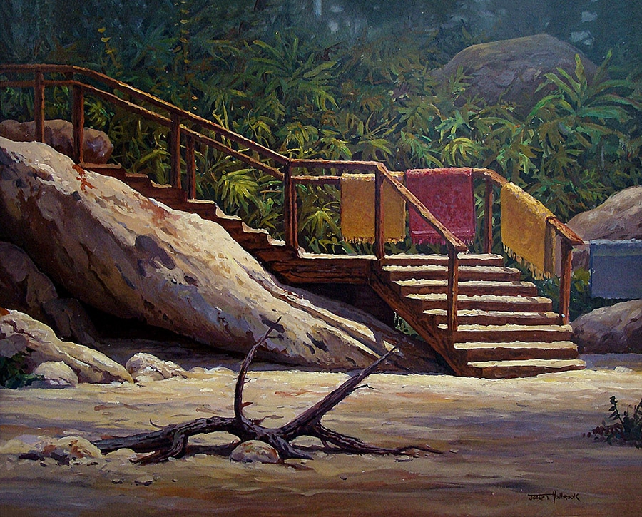 Joseph Holbrook Stairs in Yellow and Red 16x20 Oil on Board