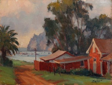 Michael Obermeyer Cat Harbor Catalina 9x12 Oil on Canvas