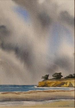 John Iwerks, Leadbetter Beach, 10x7 Watercolor