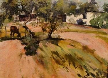 Mark Florian Hillside Home 9x12 Watercolor