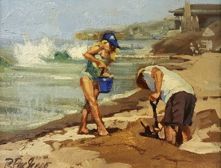 Rita Pacheco The Clam Diggers 8x10 Oil on Canvas