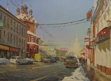 Vladimir Derkach Street in Moscow 18x24 Oil on Canvas
