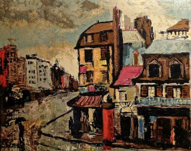 F. Pascal Modernist Cityscape 24x30 Oil on Canvas