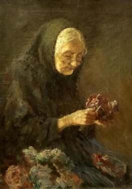 Oscar Achenback Flower Seller 14x11 Oil on Canvas