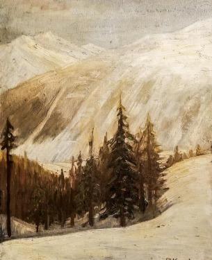 Paul Kusche Winter Landscape 20x16 Oil on Board