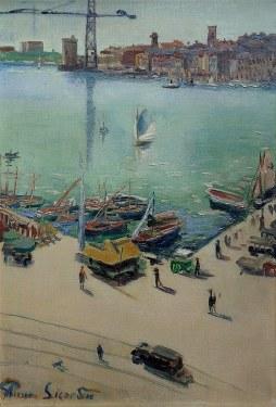 Pierre Sicard Marseille Harbor 1925 29x20 Oil on Canvas
