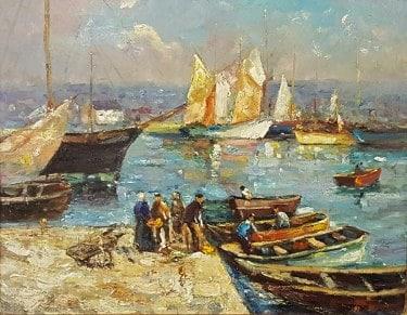 Unknown Artist Bustling Harbor Circa 1920 16x20 Oil on Canvas