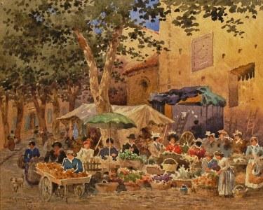 Claude Spero Flower Vendors France 7x9 Watercolor