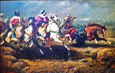 C Lungo Arab Charge 24x36 Oil on Canvas
