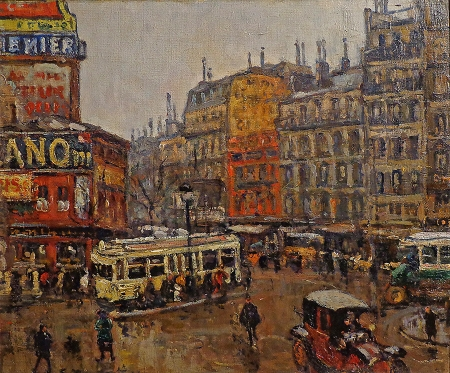 Georges Barwolf Place de Clichy 18x22 Oil on Board