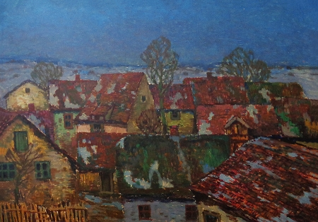 Josef Ullmann Rooftops at Twilight 20x27 Oil on Board