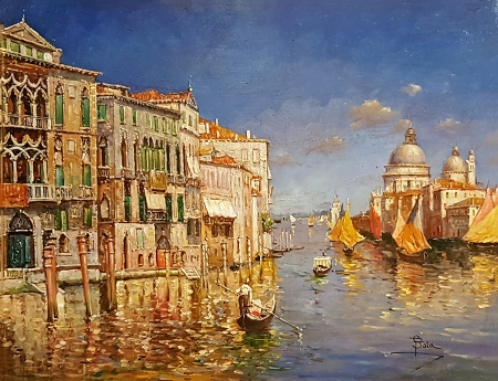 Paolo Sala Venetian Harbor 14x18 Oil on Copper