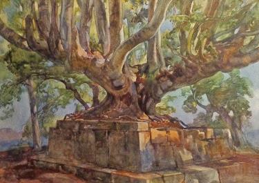 Quorado Carlaudi Ruins of the Temple of Jupiter 18x26 Watercolor