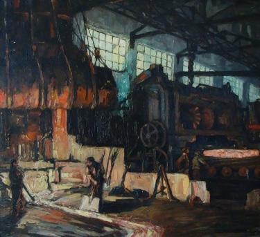 Augusta Van de Casteele Factory Scene 26x32 Oil
