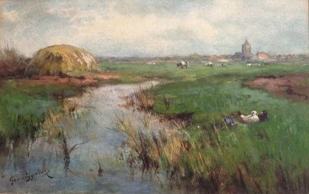 George Poggenbeek Landscape with Cattle and Ducks 11x17 Watercolor