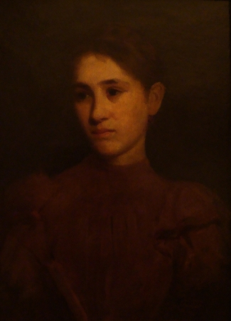 Illegible Signature Girl in Red–1894 22x16 Oil on Canvas