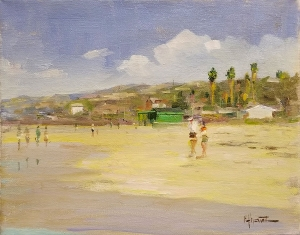 Felice Hrovat Beach at Crystal Cove 9x12 Oil on Canvas