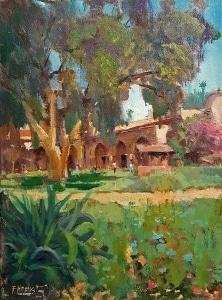 Felice Hrovat Mission Gardens 9x12 Oil on Canvas