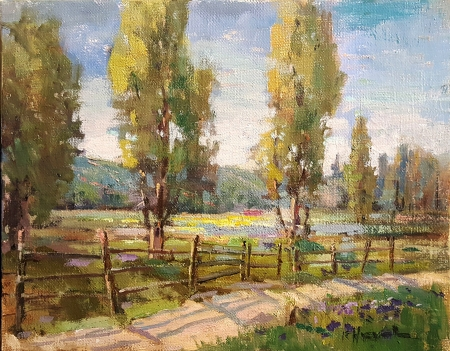 Felice Hrovat Spring Road 8x10 Oil on Canvas