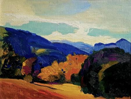 George Edmund Barker Jr California Color 14x18 Oil on Board